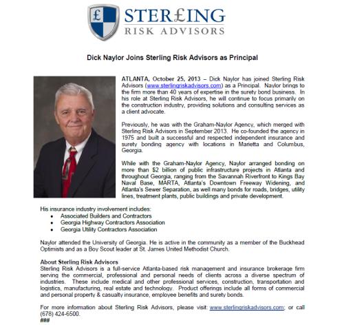 Dick Naylor joins Sterling Risk Advisors as Principal