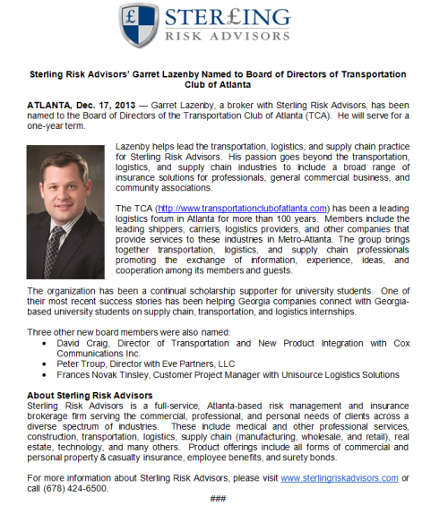 Garret Lazenby Named to Board of Directors of Transportation Club of ATL
