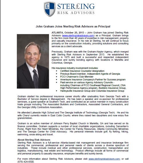 John Graham Joins Sterling Risk Advisors
