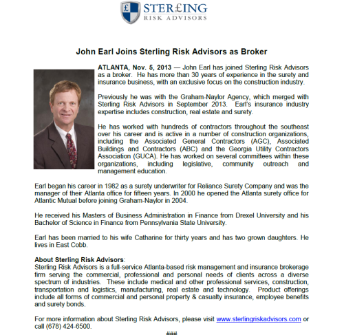 Release - John Earl Sterling Risk Advisors