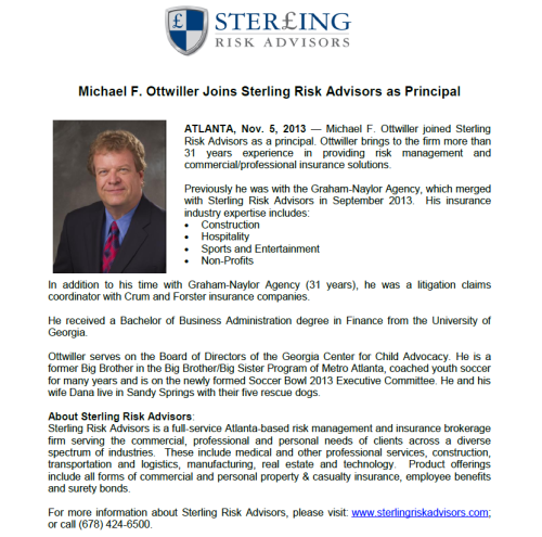 Release - Mike Ottwiller Sterling Risk Advisors